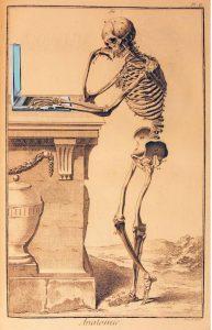 骸骨とパソコン